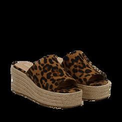 Zeppe platform leopard in eco-pelle, zeppa in corda 7 cm, Primadonna, 132708151MFLEOP035, 002a