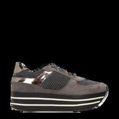 Sneakers grigie con maxi platform a righe bianche e nere, Primadonna, 122707075MFGRIG035, 001a