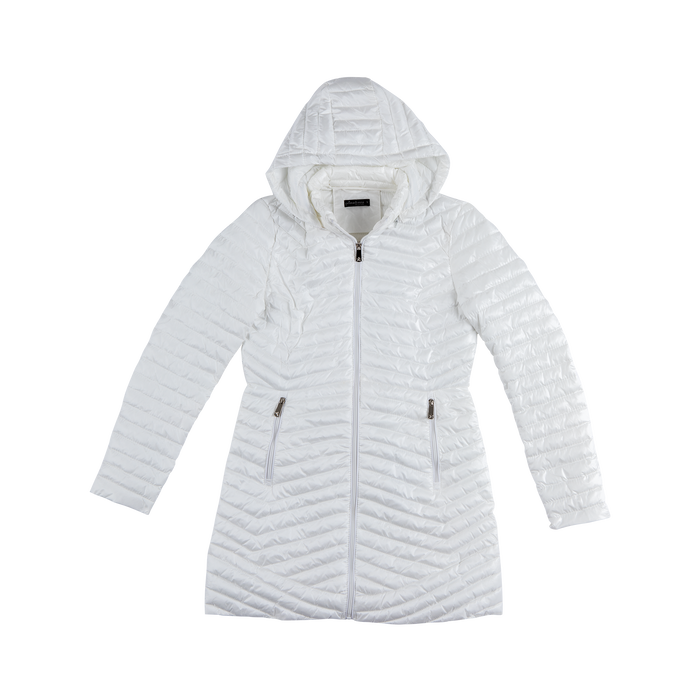 Piumino Bianco Donna Lungo con Cappuccio, Abbigliamento, 128500502TSBIAN