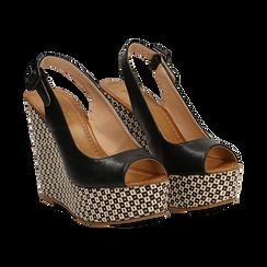 Sandali platform neri in eco-pelle, zeppa intrecciata 13 cm , Primadonna, 134907984EPNERO036, 002 preview