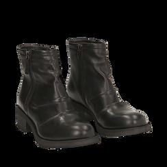 Biker boots neri in pelle, tacco 4 cm , Stivaletti, 147718220PENERO035, 002a