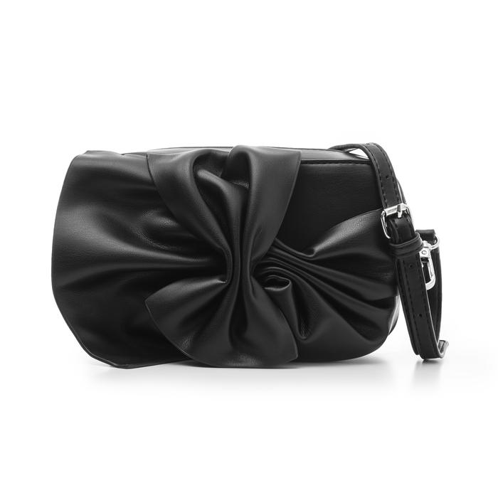 Camera bag nera in eco-pelle con fiocco, Borse, 132300505EPNEROUNI