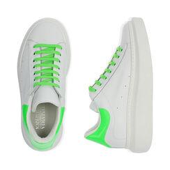 Sneakers bianco/verde in pelle, Primadonna, 17L600102PEBIVE035, 003 preview
