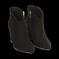 Ankle boots en microfibre noir, talon 9 cm, Promozioni, 164916101MFNERO036, 002 preview