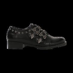Flat con fibbia nera e borchiette, Scarpe, 129306611EPNERO, 001 preview