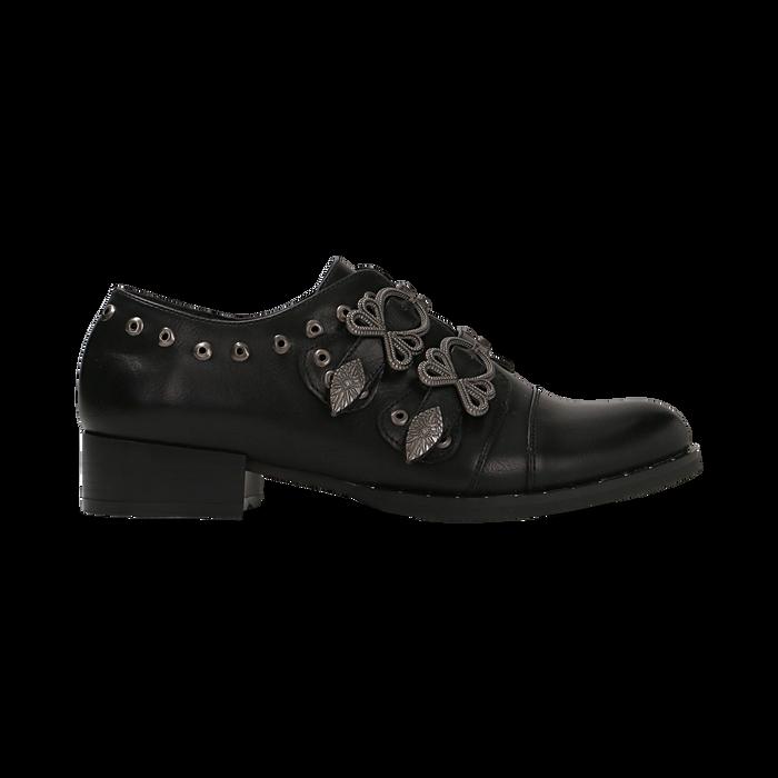 Flat con fibbia nera e borchiette, Scarpe, 129306611EPNERO