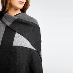 Poncho grigio effetto lamé, stampa a quadri multicolore, Abbigliamento, 12B409678TSNEGR, 005 preview