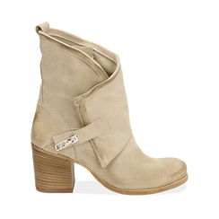 Biker boots taupe in camoscio, tacco 7 cm, Primadonna, 155605607CMTAUP040, 001a