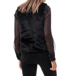 Pelliccia smanicata nera in eco-fur, Abbigliamento, 14B443007FUNERO3XL, 002a
