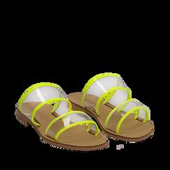 Mules flat gialle in vernice fluo con effetto see through, Saldi Estivi, 136767001VEGIAL035, 002a