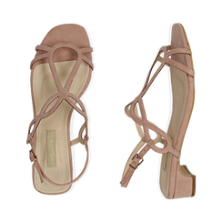 Sandali nude in microfibra, tacco 3,50 cm, Primadonna, 154821331MFNUDE036, 003 preview
