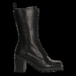 Anfibi neri in vera pelle con gambale alto, tacco 7,5 cm, Primadonna, 127723810PENERO035, 001a