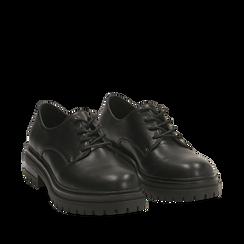 Stringate nere in eco-pelle con suola carrarmato , Scarpe, 140681925EPNERO035, 002a