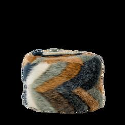 Colbacco multicolore/blu in eco-pelliccia, Saldi Abbigliamento, 12B413001FUBLUE3XL, 001a