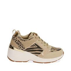 Sneakers beige, zeppa 7,5 cm , Primadonna, 182663020EPBEIG035, 001a