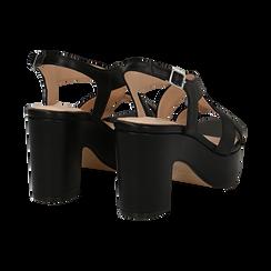 Sandali con plateau neri in eco-pelle, tacco 9 cm , Sandali con tacco, 138402258EPNERO036, 004 preview