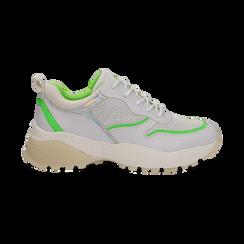 Dad shoes bianche in tessuto con dettagli fluo green,