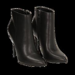 Ankle boots neri in eco-pelle, tacco 10, 50 cm , Scarpe, 142168616EPNERO035, 002a