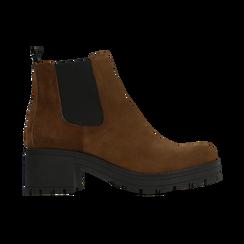 Chelsea Boots cuoio in vero camoscio, tacco medio 5,5 cm, Primadonna, 127723509CMCUOI040, 001 preview