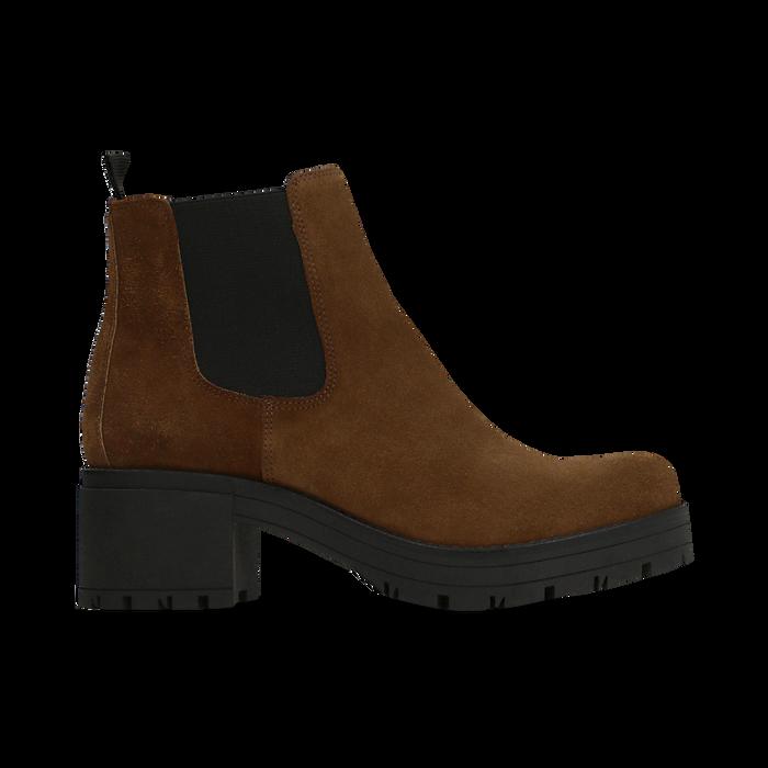 Chelsea Boots cuoio in vero camoscio, tacco medio 5,5 cm, Primadonna, 127723509CMCUOI040