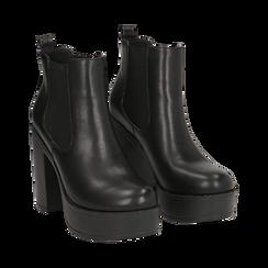 Ankle boots con plateau neri in eco-pelle, tacco 12,5 cm , Stivaletti, 140619183EPNERO035, 002 preview