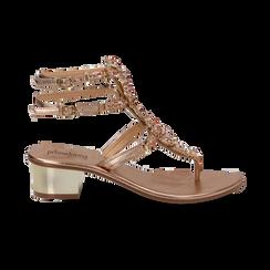 Sandali gioiello infradito rosa in laminato, tacco 6 cm, Primadonna, 134986238LMROSA035, 001 preview