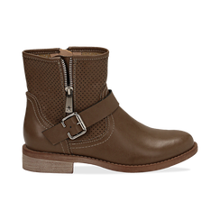 Biker boots taupe in eco-pelle con gambale traforato estensibile, tacco 3 cm, Scarpe, 130619015EPTAUP035, 001 preview