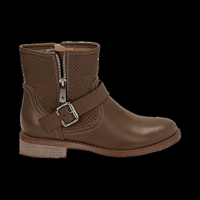 Biker boots taupe in eco-pelle con gambale traforato estensibile, tacco 3 cm, Scarpe, 130619015EPTAUP037