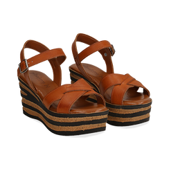 Sandali platform cuoio in eco-pelle, zeppa righe optical 8 cm ,