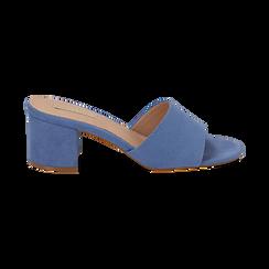 Mules azzurre in microfibra, tacco 6,50 cm , Scarpe, 134956151MFAZZU036, 001 preview