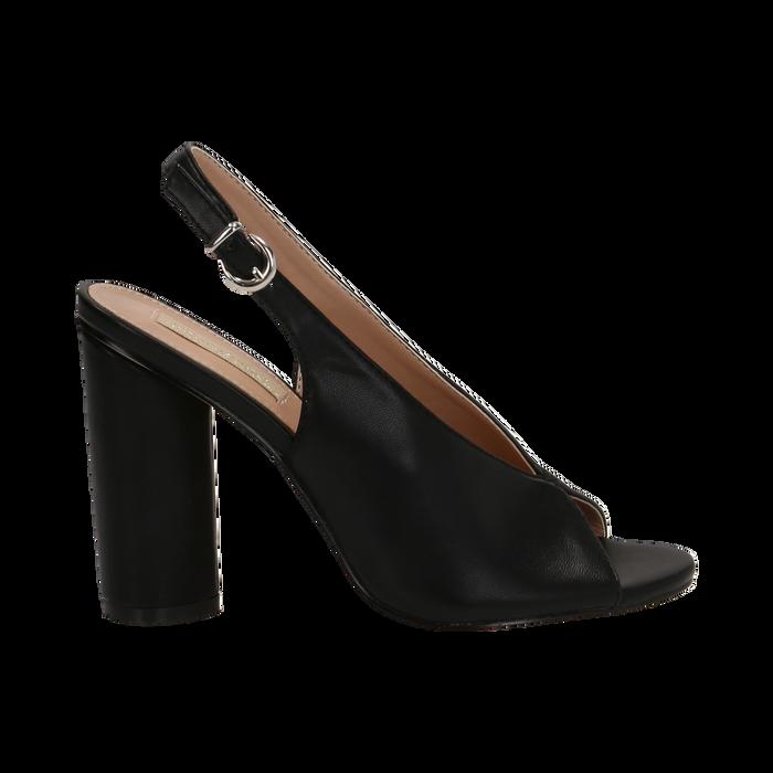 Slingback nere open-toe in eco-pelle, tacco 10 cm, Primadonna, 132708372EPNERO036
