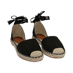 Espadrillas lace-up nere in microfibra, Chaussures, 154933051MFNERO039, 002 preview