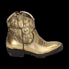 Camperos oro in laminato, Stivaletti, 148900250LMOROG036, 001 preview