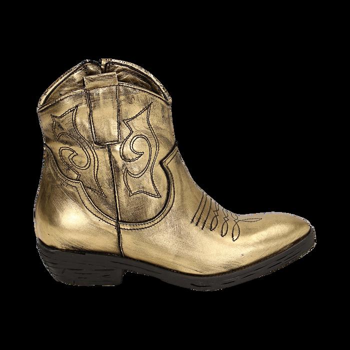 Camperos oro in laminato, Stivaletti, 148900250LMOROG036
