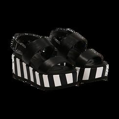 Sandali platform neri in eco-pelle, zeppa optical 7 cm ,