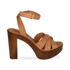 Sandali beige in pelle, tacco 11,5 cm , Primadonna, 174304931PEBEIG035, 001 preview
