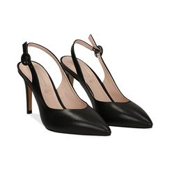 Slingback negro de piel, tacón 9 cm, Zapatos, 15D601002VINERO037, 002 preview