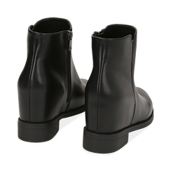 Ankle boots neri in eco-pelle con zeppa interna, Stivaletti, 149721221EPNERO035, 004 preview