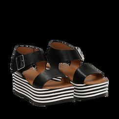 Sandali platform neri in eco-pelle, zeppa optical 6,50 cm , Primadonna, 139716068EPNERO035, 002a