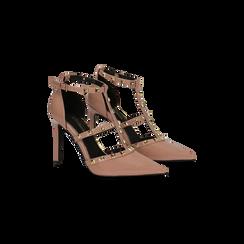Décolleté rosa nude vernice con cinturino a T borchiato, tacco stiletto 10 cm, Scarpe, 122146820VENUDE035, 002