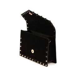 Borsa piccola nera borchiata in microfibra, Primadonna, 155122717MFNEROUNI, 004 preview