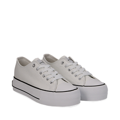 Sneakers bianche in canvas, platform 4 cm, Scarpe, 132619385CABIAN036, 002a