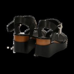Sandali platform neri in eco-pelle, zeppa 7 cm, Primadonna, 132147321EPNERO035, 004 preview