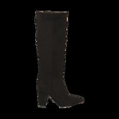 Stivali neri in microfibra, tacco 9,50 cm , Primadonna, 163026501MFNERO035, 001 preview
