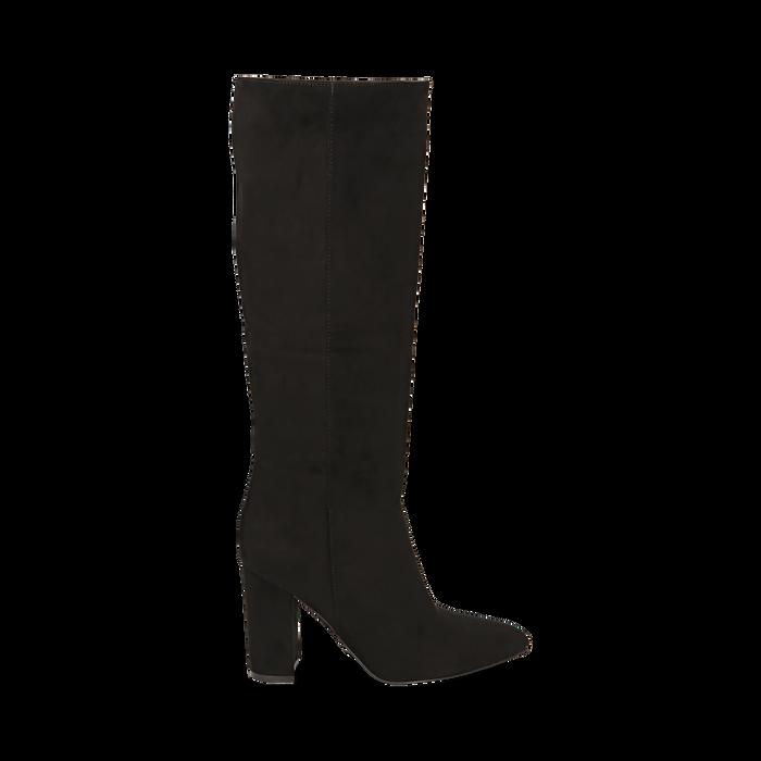Stivali neri in microfibra, tacco 9,50 cm , Primadonna, 163026501MFNERO035