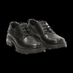 Stringate nere in eco-pelle con perline sulla suola, Scarpe, 140691312EPNERO037, 002 preview