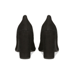 Décolleté nere in vero camoscio, tacco quadrato 8 cm, Primadonna, 12D615210CMNERO, 003 preview