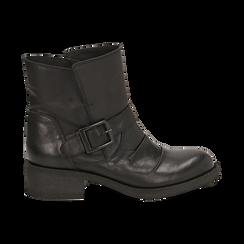 Biker boots neri con fibbia in pelle, tacco 4 cm , Primadonna, 147718215PENERO035, 001 preview