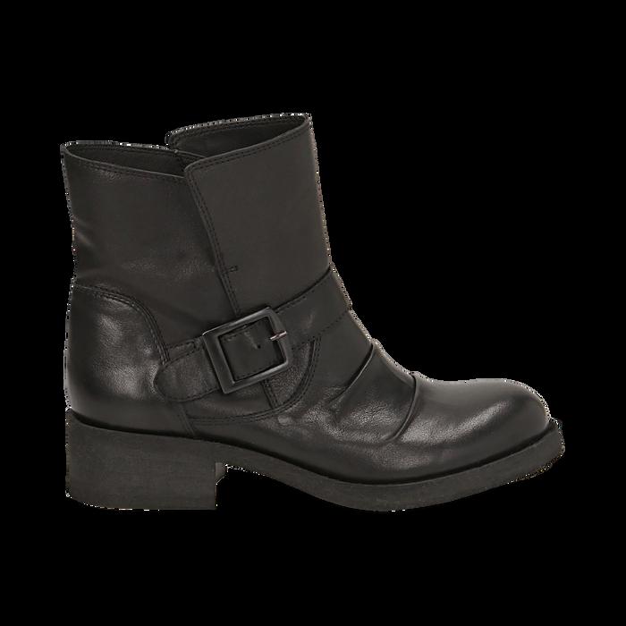 Biker boots neri con fibbia in pelle, tacco 4 cm , Primadonna, 147718215PENERO036