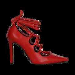Décolleté rosse con lacci sul collo del piede, tacco stiletto 10 cm, Primadonna, 122166011EPROSS036, 001 preview